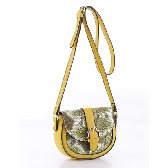 Snake belted crossbody bag - yellow