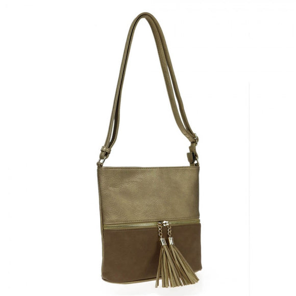 Color-block crossbody bag - gold/taupe