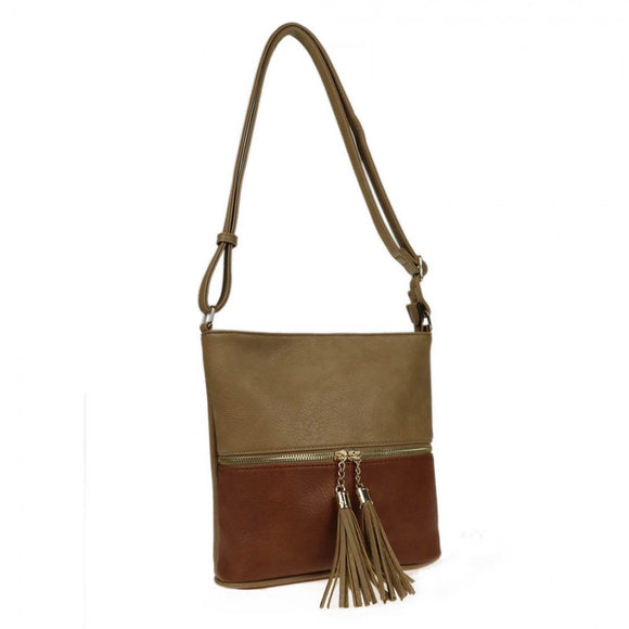 Color-block crossbody bag - khaki/brown