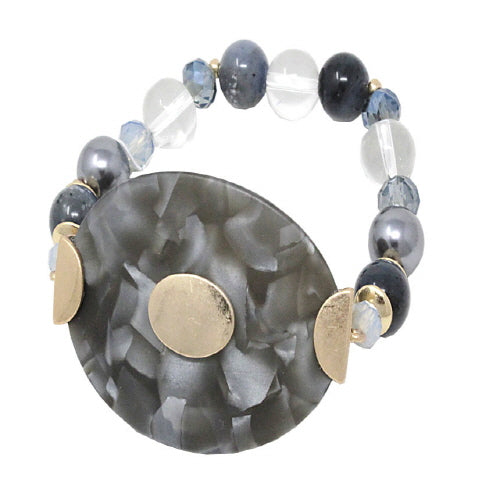 OVAL ACETATE BRACELET - BLACK