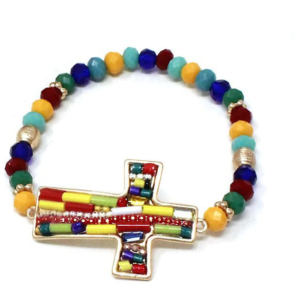 Cross multi color bead bracelet