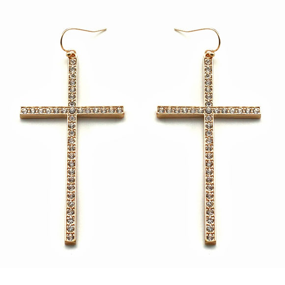 [12PC] Pave Cross earring - GDCL