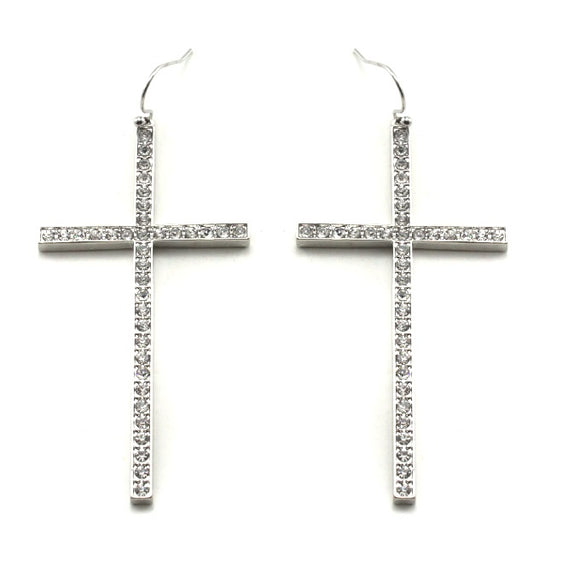 [12PC] Pave Cross earring - RHCL