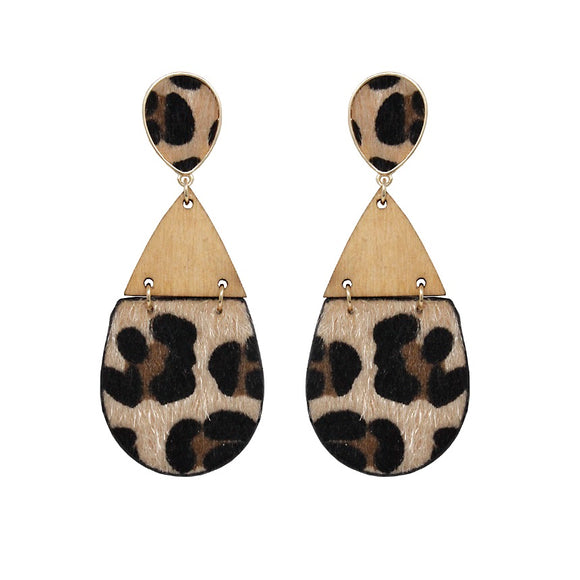 [2PCS] Tear drop leopard earring