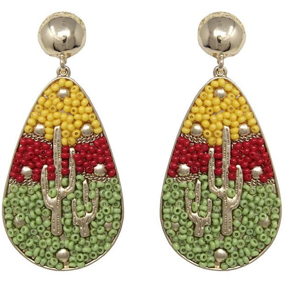 Cactus multi color bead earring