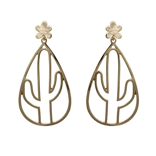 Cactus outline earring - gold