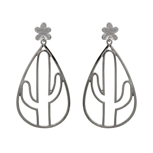 Cactus outline earring - silver