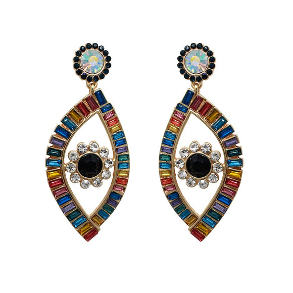 Evil eye drop earring - baguette stone