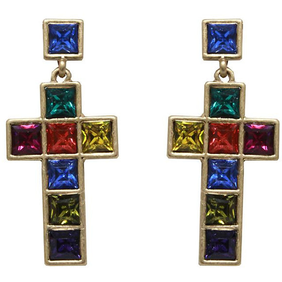 Cross multi glass bead earring