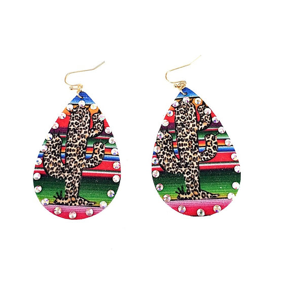 [12PC] Animal print cactus & serape earring
