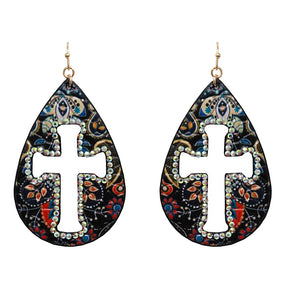 [12PC] Paisley with Cross earring