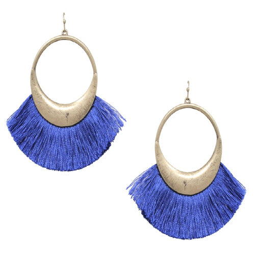 FAN TASSEL EARRING - BLUE - Pink Vanilla