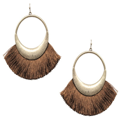FAN TASSEL EARRING - BROWN