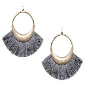 FAN TASSEL EARRING - GRAY