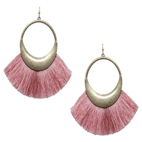 FAN TASSEL EARRING - PEACH