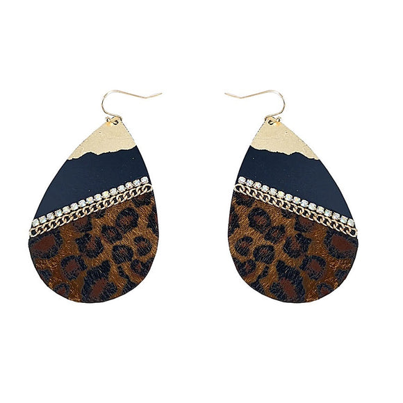 [2 PC] Tear drop w/ leopard earring