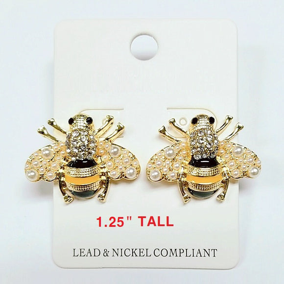 [2 PC] Bee / Insect earring - black & yellow