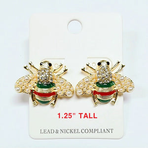 Bee / Insect earring - green & red