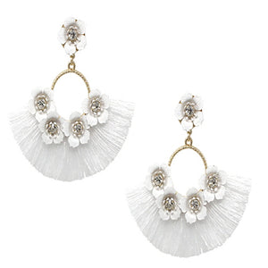 FLOWER TASSEL EARRING - WHITE