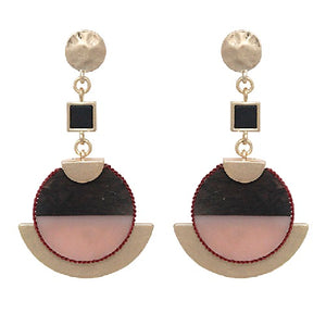 Wood & marble earring - pink