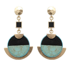Wood & marble earring - turquoise