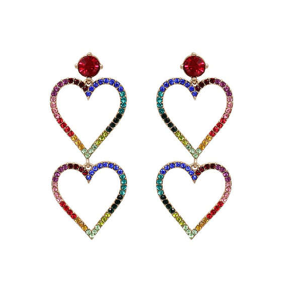 Double drop heart earring