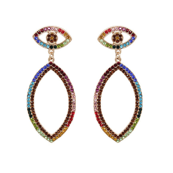 Evil eye drop earring