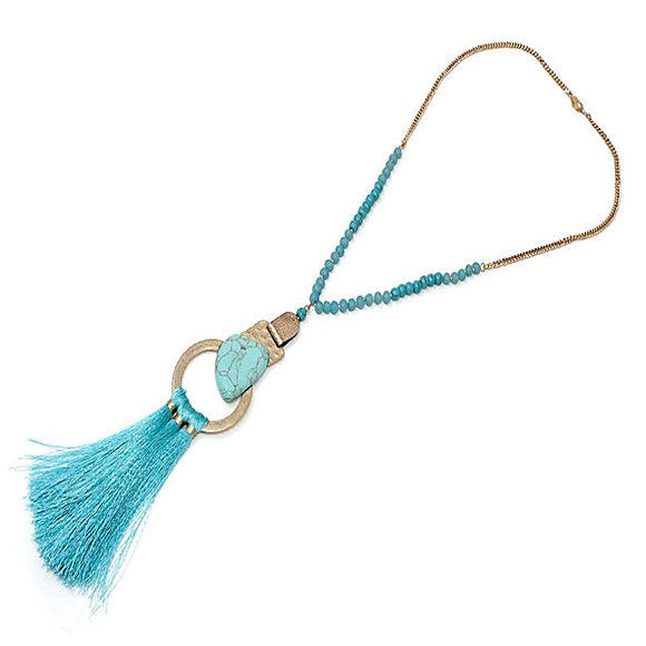 Turquoise stone w/ tassel necklace set