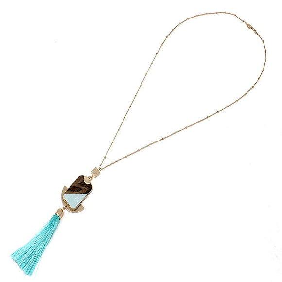 Semi precious w/ tassel necklace set - aqua