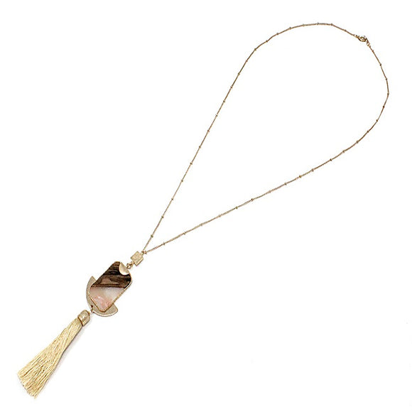 Semi precious w/ tassel necklace set - natural
