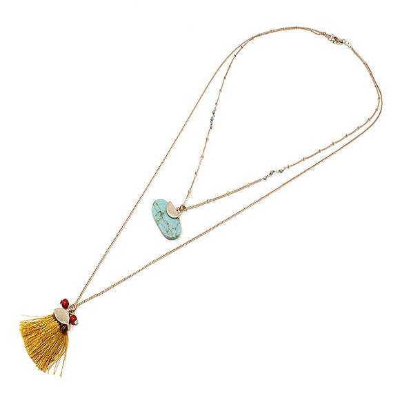 Tassel w/ multi layer necklace set - turquoise
