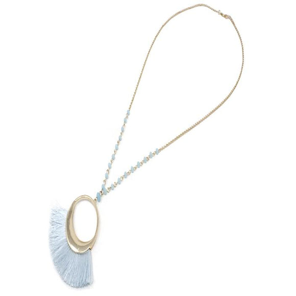 FAN TASSEL NECKLACE SET - LIGHT BLUE
