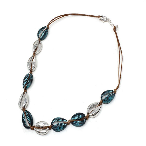 Shell necklace set - silver patina