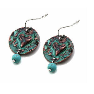 Heart on round disc earring - patina