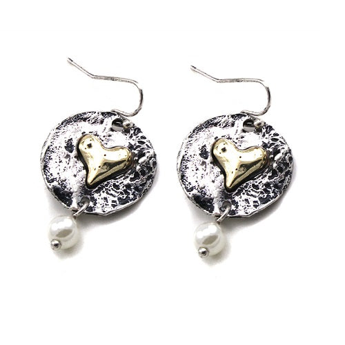 Heart on round disc earring - gold heart