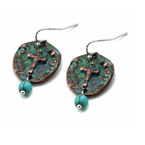 Cross on round disc earring - patina