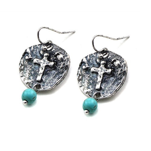 Cross on round disc earring - silver