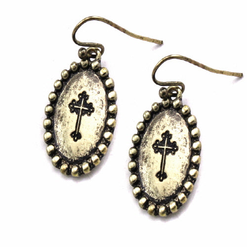Oval Cross engraved earring - Gold