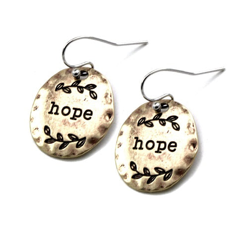 Disc Hope engraved earring - gold