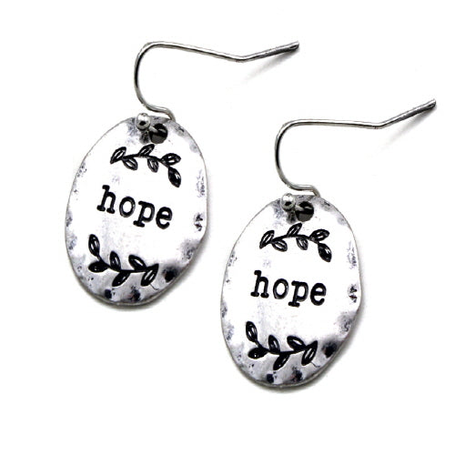 Disc Hope engraved earring - Silver