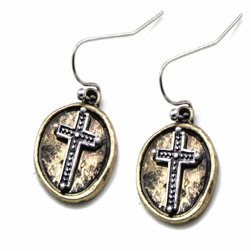 Two-tone cross earring