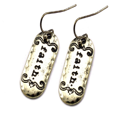 Faith engraved earring - Gold