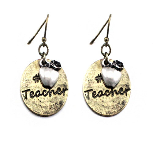 #1 teacher earring - gold