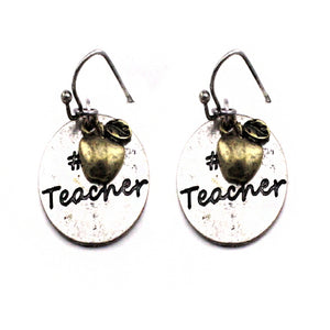 #1 teacher earring - silver