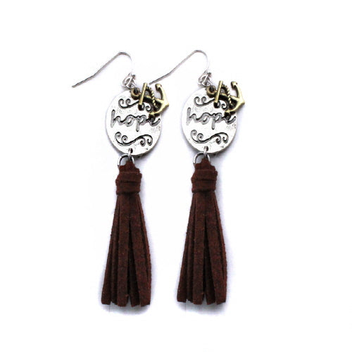 Anchor & hope tassel earring