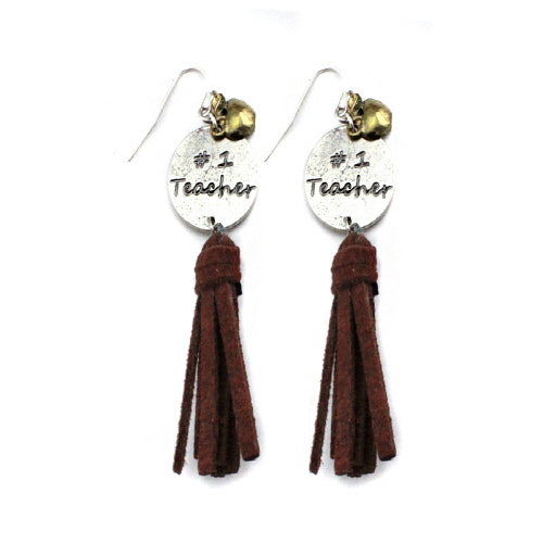 #1 teacher w/ tassel earring