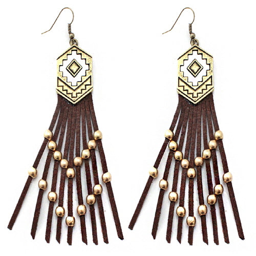 Aztec w/ tassel earring - Brown