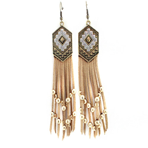 Aztec w/ tassel earring - Natural