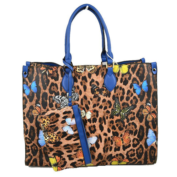 Leopard butterfly print tote with wallet - royal blue
