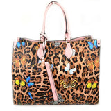 Leopard butterfly print tote with wallet - light pink